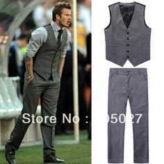 freeship Beckham bakham mens ternos colete casual masculino magros pant colete definir No.94-inSuits de Vestuário e Acessórios em Aliexpress.com