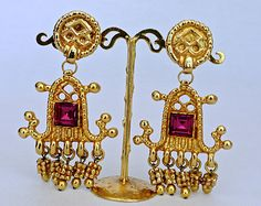 Your place to buy and sell all things handmade Christian Lacroix, Arabesque, Stone Earrings, Drop Earrings, Oriental Fashion, Princess Cut, Etsy Earrings, Costume Jewelry, Bling