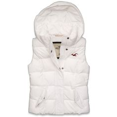 Hollister Co Hermosa Vest ($35) ❤ liked on Polyvore featuring outerwear, vests, jackets, tops, hollister, white waistcoat, white vest, pocket vest, white hooded vest and embroidered vest