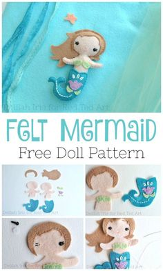 Sewing Projects For Kids Little Mermaid Doll Pattern - make this lovely Felt Mermaid Doll with our Free Doll Pattern by Delilah Iris . Felt Doll, sewing with kids Little Mermaid Doll, Mermaid Dolls, Little Doll, Little Mermaid Crafts, Sewing Patterns Free, Free Sewing, Felt Patterns Free, Felt Doll Patterns, Free Pattern