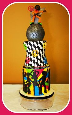 My Fave Groovy Disco Cake Ever - by OpEnTopTaart @ CakesDecor.com - cake decorating website