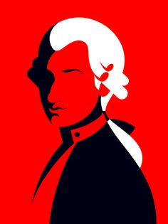 Wolfgang Amadeus Mozart 'Mostly Mozart' portrait illustration by Malika Favre for Lincoln Center Classical Concerts July - August 2017 Vector Portrait, Portrait Art, Pop Art Movement, Mozart, Portrait Illustration, Graphic Design Illustration, Lincoln Center, Posters, Noma Bar