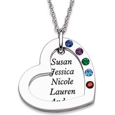 Sterling Silver Heart Necklace with Names and Birthstones