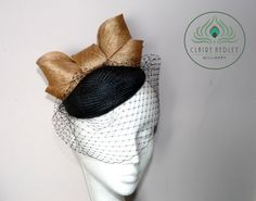 Black buntal pillbox cocktail hat by ClaireHedleyMilliner on Etsy