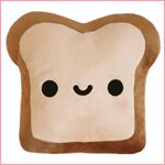 doublesided toast pillow. the other side has a frowny burnt face.