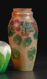 "TIFFANY STUDIOS CARVED CAMEO ""NASTURTIUM"" VASE Estimate   30,000 — 50,000 USD"