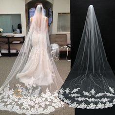 Free Shipping White Ivory Beautiful Cathedral Length Lace Edge Wedding Bridal Veil With Comb veu de noiva