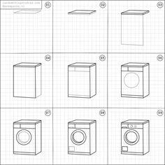 How to draw a washing machine.