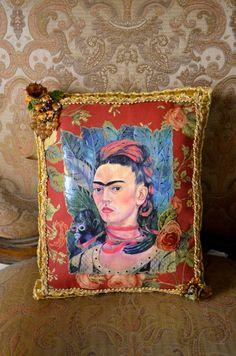 Frida Kahlo Pillow Retro Mexican Art Rose Floral by OliviabyDesign, $32.95 # frida kahlo #mexican art #mexican boho