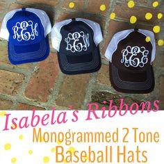 monogram distressed hats.  royal, navy, brown, red, black.  order at www.facebook.com/isabelasribbons