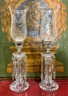 For Auction: Exceptional Pair Of Signed Baccarat Luster Lamps (#0143) on Sep 12, 2020 | J. Garrett Auctioneers in TX Mason Jar Wine Glass, Glass Vase, Baccarat Crystal, Hurricane Lamps, Empire Style, Opaline, Oil Lamps, Fashion Branding, Candelabra