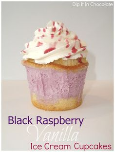 Dip it in Chocolate: Black Raspberry Vanilla Ice Cream Cupcakes