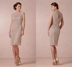 Wholesale cheap mother Of The bride dress online, 2014 fall winter - Find best elegant cap sleeves sheath mother Of The bride crew neck knee length hollow back lace party dress at discount prices from Chinese mother's suit supplier on DHgate.com. (order it in wedding color like white, ivory, champagne for the reharsal)