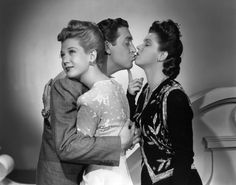 "Louise Allbritton, Robert Paige, Diana Barrymore in ""Fired Wife"" (1943)"
