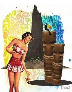Tiki Girl retro tiki mid century print...