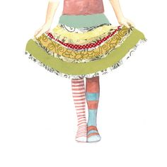 Fashion Stripes Girl dress up Cut Paper Skirt - All Dressed Up - Print of Original Painting Collage by Paper Taxi