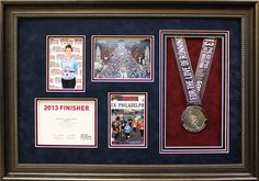 Marathon collage with medal and photos from event. Designed and custom framed at Art & Frame Express in Edison, NJ. www.MyFramingStore.com