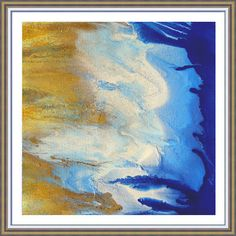 Gold White and Blue Large Wall Art Watercolor Painting