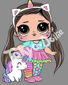 Unicorn is lol Middleton Dolls, Doll Drawing, Realistic Baby Dolls, Cute Kawaii Drawings, Doll Party, Toddler Dolls, Portrait Illustration, Illustration Fashion, Lol Dolls