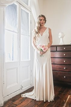 Jennifer Go Bridal - Issa gown, heavy liquid silk satin and French Chantilly lace