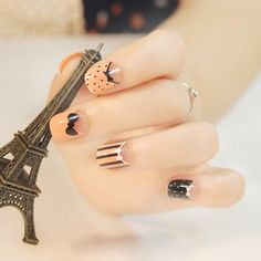 24 PCS Stylish Small Bow Tie Pattern Candy Color Nails Art False Nails