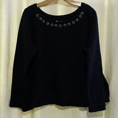 Lane Bryant Sweatshirt Super cute long sleeve sweatshirt with blue and silver embellished neckline not a heavy sweatshirt navy blue color Lane Bryant Tops