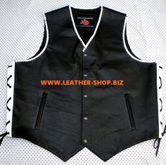 Leather vests with colored braid and trim style MLVB741 Worldwide Shipping, 9 colors, 5 leather types avaialbale