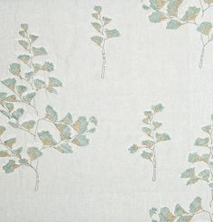 Gingko Fern Embroidered Fabric Pale Blue Linen fabric, embroidered with simple Gingko Fern design in duck egg and taupe.