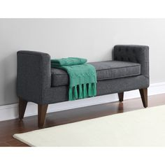 Riley Granite Grey Tufted Upholstery Bench    #homedecor