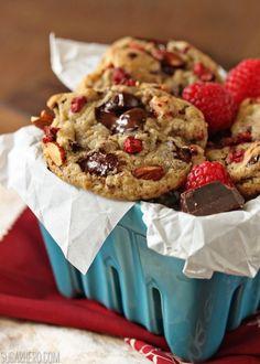 Raspberry Almond Chocolate Chunk Cookies | SugarHero.com