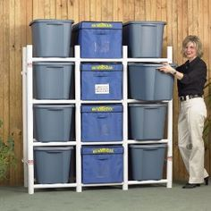storage rack made from PVC pipes, would be great for the garage...