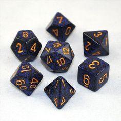 Set of 7 Speckled Golden Cobalt Dice