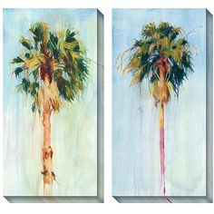 Make the most of your wall space with this oversized canvas art print set. The colorful modern pieces feature two recognizable palm trees set against a blue sky, making them a perfect addition to rooms where relaxation is the desired theme.