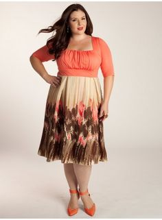 LOVE THIS! ♥ Plus Size Dress at www.curvaliciousclothes.com Coral: the new neutral - plays well with others - or all on its own. The Lavinia Dress with its A-line silhouette and abstract print make for a perfect summer staple. Its set-in sleeves at the elbow and figure forming waistband will have you feeling confident and classy. Finish the look with neutral or coral heels and gold gems.