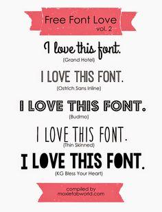 Moxie Fab World: Free Font Love Vol. 2  ~~ {5 free fonts w/ links}