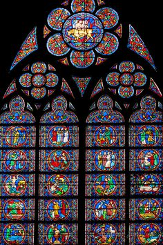 Stained glass of Notre Dame de Paris, France