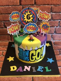 7th Birthday Cakes, Dragon Birthday Parties, Superhero Birthday Party, Birthday Fun, Teen Titans Go, Teen Cakes, Pinata Party, Kids Party Themes, Childrens Party
