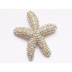 Crystal Aurora Boreale Clear Rhinestone Sea Life Beach Starfish Star Pin Brooch $12.99