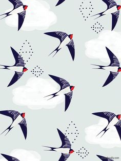 pattern, design, modern, nature, birds, swallows #AnimalPrint #BirdPrints #SwallowPrintFabric