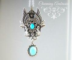 Amazonite Pendant Necklace,Natural Stone Pendant,Wings Pendant,Steampunk Jewelry,Fantasy Necklace