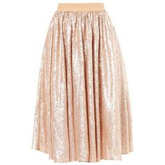 mint&berry A-line skirt rose gold ❤ liked on Polyvore featuring skirts, pink skirt, pink a line skirt, knee length a line skirt, mint skirts and a-line skirt