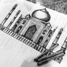 Drawing in 2019 architecture drawing art, art sketches, art drawings. Taj Mahal Sketch, Taj Mahal Drawing, Pen Sketch, Drawing Sketches, Art Drawings, Taj Mahal Dibujo, Architecture Drawing Art, Stippling Art, Art Corner