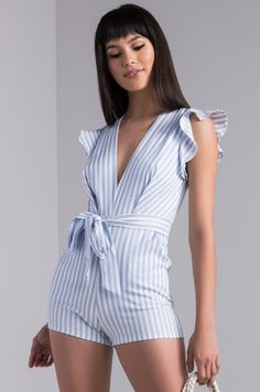 84c45e21a07 AKIRA Stripe Ruffle Sleeve Romper in Light Blue