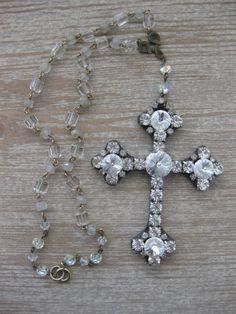 Jeweled Cross Vintage Rhinestone Jewelry Necklace by jemsbyjennym, $55.00