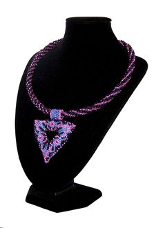Handmade Black, Blue and Lilac Beaded Triangle Pendant.