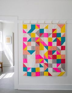 in love with these colors! // modular blocks quilt