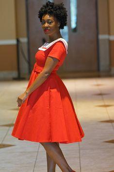 Unique Vintage Sailor Red Dress