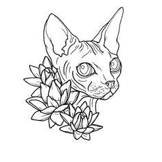Sketch Tattoo Design, Tattoo Sketches, Art Sketches, Art Drawings, Tattoo Designs, Sphinx Tattoo, Cat Tattoo, Arte Lowrider, Ugly Cat