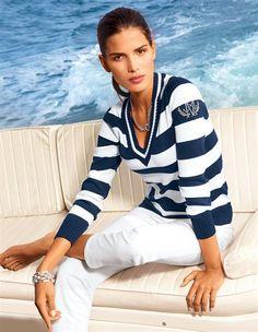 V-neck Nautical Stripe Pullover
