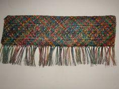 Whaariki (Woven Wall Hanging mat) A Representation of Aotearoa made from Harakeke (NZ Flax) the pattern is - Whakapuareare ( ) . Maori Designs, Maori Art, Woven Wall Hanging, Wearable Art, Weaving, Craft Ideas, Traditional, Pattern, Crafts